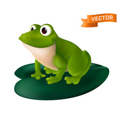 green cartoon frog with big eyes sitting on a vector image