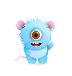Hairy fluffy smiling moster for kids congratulates vector