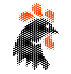 Halftone dot rooster head icon vector