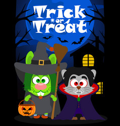 Halloween background trick or treating animal vector