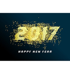 Happy new year 2017 with gold vector