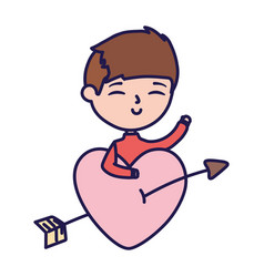 Happy valentines day young boy with pierced heart vector