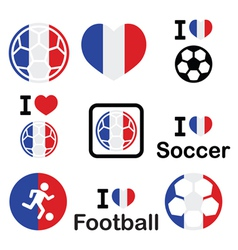 I love French football soccer icons set vector image