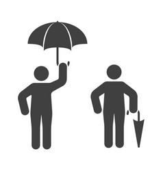 icon of a man with an open and closed umbrella vector image