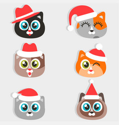 icons funny cartoon cats with christmas hats vector image