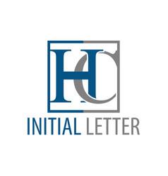initial letter hc ch logo concept design symbol vector image