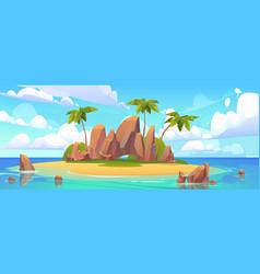 island in ocean uninhabited isle with sandy beach vector image