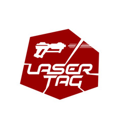 laser tag game logo with playing gun silhouette vector image