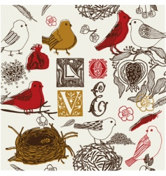love birds background vector image