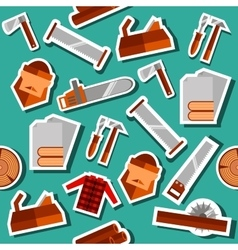 Lumberjack flat collage set vector image