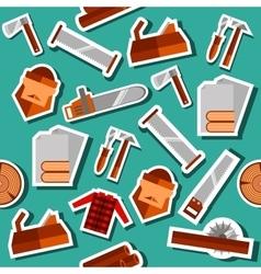 Lumberjack flat collage set vector image
