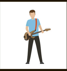 male characters play on electric or bass guitar vector image