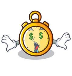 Money eye chronometer character cartoon style vector