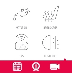 Motor oil passing fog lights and gps icons vector
