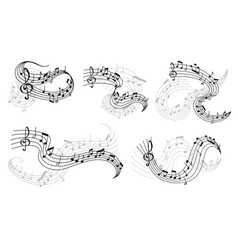Music notes on staff icons vector