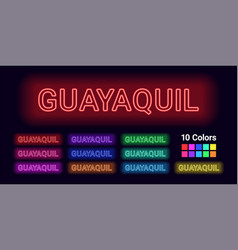 Neon name of guayaquil city vector