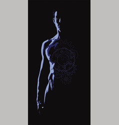 Nude torso of a man on a black background vector