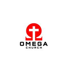 Omega church logo design vector