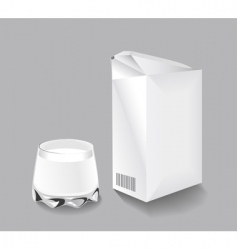 packaging milk and a glass vector image
