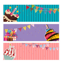 Party background baner with flags and cakes vector