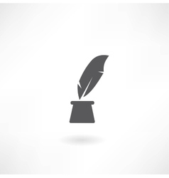 pen and inkwell icon vector image