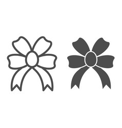 present bow line and glyph icon double knotted vector image