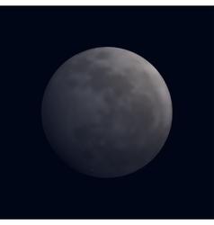Realistic shining full moon in dark blue sky vector