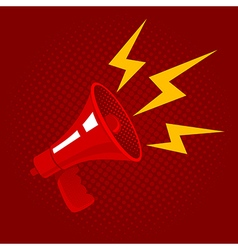 red megaphone red background vector image