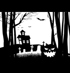 scary house and cemetery in the dark woods vector image