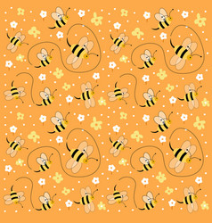 seamless floral pattern with bees vector image