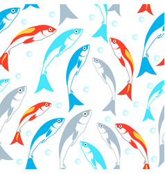 Seamless pattern with fish aquaponics system vector