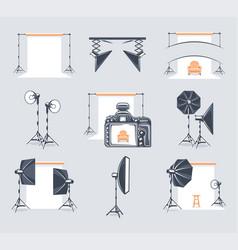 set elements photo studio vector image