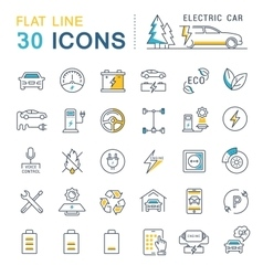 Set Flat Line Icons Electric Cars vector