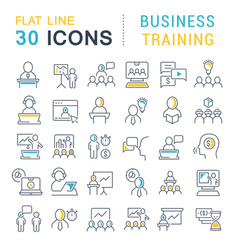 Set line icons business training vector