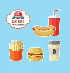 Set of fast food meals vector image