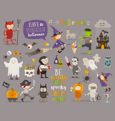 set of halloween sign symbol and characters vector image