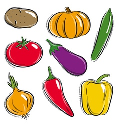 set of vegetable potato pumpkin cucumber vector image