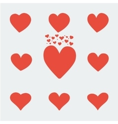 set red asymmetric heart valentine day icons vector image
