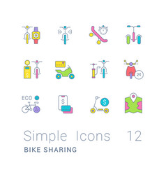 Set simple line icons bike sharing vector