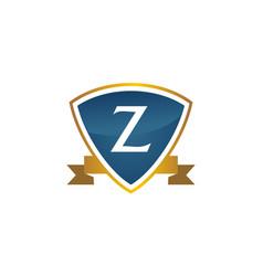 shield ribbon letter z vector image