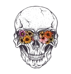 Skull of human with flowers on eyeglasses vector