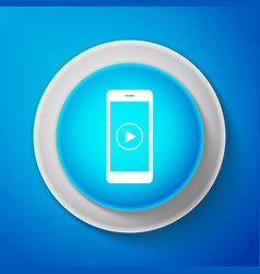smartphone with play button on the screen icon vector image