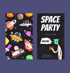 space party card template with cute funny alien vector image