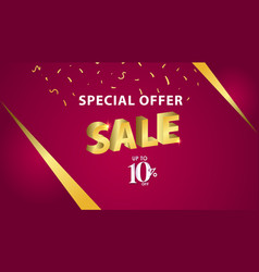 Special offer sale up to 10 off template design vector