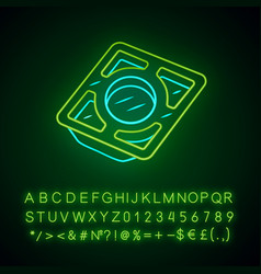 Stainless steel tray neon light icon vector