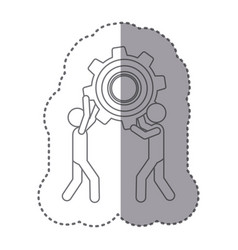 Sticker silhouette of men holding a pinion vector