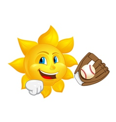 sun with glove is catching ball vector image