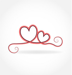Swirly love hearts isolated vector