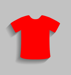 t-shirt sign red icon with soft shadow on vector image