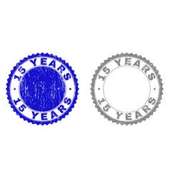 textured 15 years grunge stamp seals with ribbon vector image